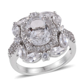 Petalite (Ovl), Natural Cambodian Zircon Ring in Rhodium Overlay Sterling Silver 4.118 Ct.