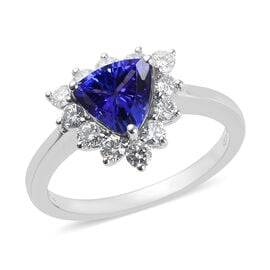 RHAPSODY 950 Platinum AAAA Tanzanite (Trl), Diamond (VS/E-F) Ring  2.15 Ct, Platinum wt 5.59 Gms