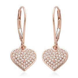9K Rose Gold Pink Diamond (Rnd) Heart Earrings 0.330 Ct.