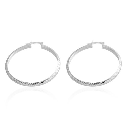 Italian Made Sterling Silver Diamond Cut Hoop Earrings (with Clasp Lock), Silver wt 4.00 Gms