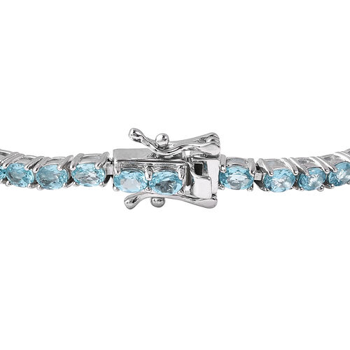 Neon Blue Apatite Tennis Bracelet (Size 7.5) in Rhodium Overlay Sterling Silver 8.25 Ct, Silver wt 9.60 Gms