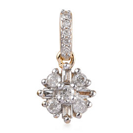 9K Yellow Gold Natural White Diamond (Rnd and Bgt) Starburst Pendant 0.15 Ct.