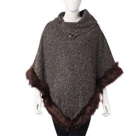 Super Soft Faux Fur Warm Poncho with Fluffy Edges (Size 80x90 Cm) - Brown