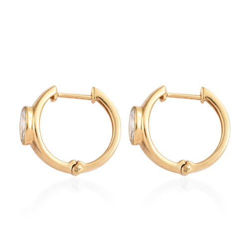 J Francis - 14K Gold Overlay Sterling Silver (Ovl) Hoop Earrings (With Clasp) Made With SWAROVSKI ZIRCONIA