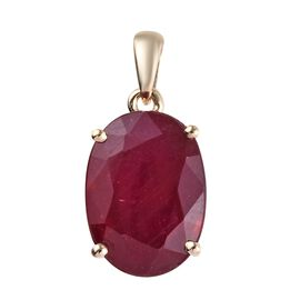 9K Yellow Gold  AA  African Ruby (Ovl 14x10 mm) Pendant 8.500 Ct.