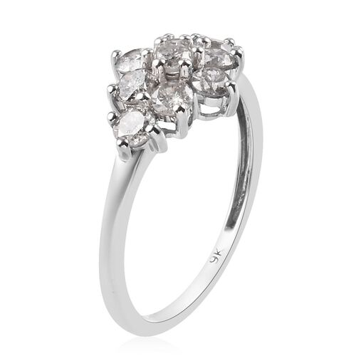 Limited Edition- 9K White Gold SGL Certified Diamond (I3/G-H) Cluster Ring 1.00 Ct.