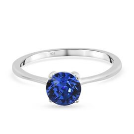 J Francis Crystal from Swarovski - Sapphire Colour Crystal Solitaire Ring in Platinum Overlay Sterli