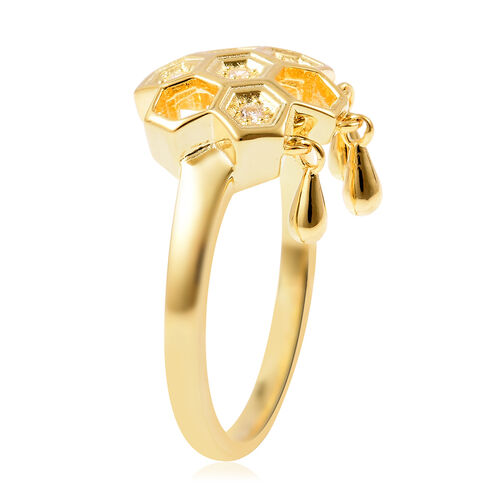 LucyQ - Natural Cambodian Zircon Honeycomb Drop Ring in Yellow Gold Overlay Sterling Silver