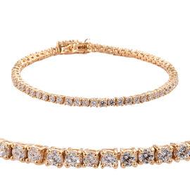J Francis - 14K Gold Overlay Sterling Silver (Rnd) Tennis Bracelet (Size 7)  Made with SWAROVSKI ZIR