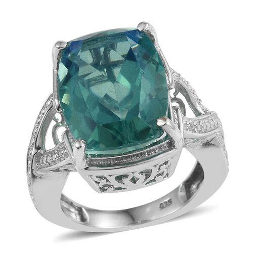 Peacock Quartz (Cush) Ring in Platinum Overlay Sterling Silver 10.750 Ct.