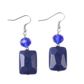 Blue Quartzite (Bgt), Simulated Blue Sapphire Lever Back Earrings in Stainless Steel
