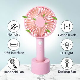 Rechargeable Compact Fan with Three Speed Settings (Size 10.5x22.1x4.2  Cm) - Baby Pink