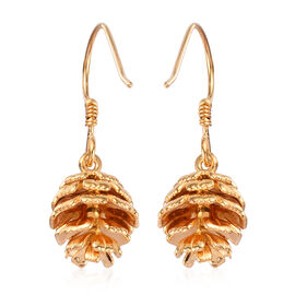 14K Gold Overlay Sterling Silver Pine Cone Hook Earring, Silver wt. 7.19 Gms