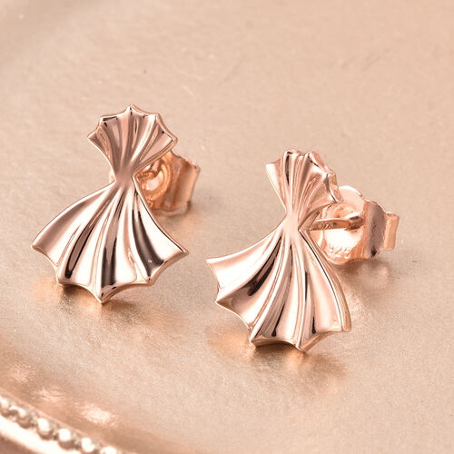 RACHEL GALLEY - Rose Gold Overlay Sterling Silver Ginkgo Leaf Stud Earrings (with Push Back)