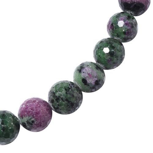 Collectors Edition Extremely Rare 100% Natural Ruby Zoisite (Rnd 11-15 mm) Necklace (Size 18 - 22 ) in Sterling Silver 640.00 Ct.