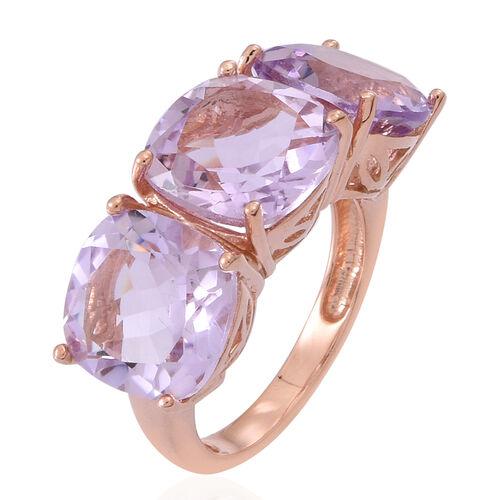 Rose De France Amethyst (Cush) Trilogy Ring in 14K Rose Gold Overlay Sterling Silver 10.000 Ct.
