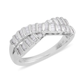 New York Close Out Deal- Designer Inspired- Diamond (Bgt I1-I2) Ring in Rhodium Plated Sterling Silver 0.50 Ct.