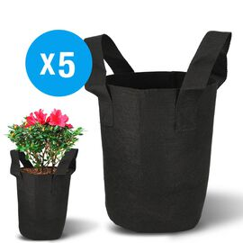 Pack of 5: Non-Woven, Anti-Corrosive and Eco-Friendly Fabric Pots With Handles (24x21x13cm) - Black