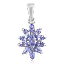 Tanzanite Pendant in  Platinum Overlay Sterling Silver