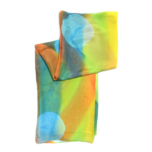 100% Mulberry Silk Green, Yellow and Multi Colour Handscreen Printed Scarf (Size 180x90 Cm)