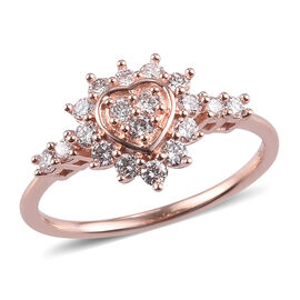 9K Rose Gold SGL Certified Pink Diamond (I2-I3) Heart Cluster Ring 0.50 Ct.
