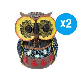 Set of 2 - Decorative Lovely Colourful Owl (Size 8x6x11.5cm) - Yellow and Multi