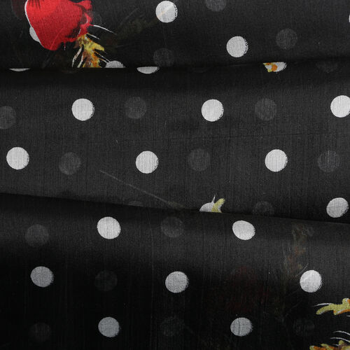LA MAREY Pure 100% Mulberry Silk Flower and Polka Dot Pattern Scarf  (Size 180x110cm) - Black, White and Red