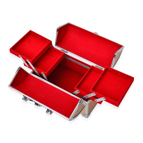 Golden Colour Three Layer Multi Functional Jewellery, Sewing, Watch, Makeup, Jewellery Box with 4 Extendable Trays and Red Velvet Lining Inside (Size 24X17X15 Cm)