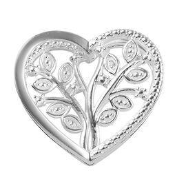 Diamond Tree of Life Heart Pendant in Sterling Silver 3.70 Grams
