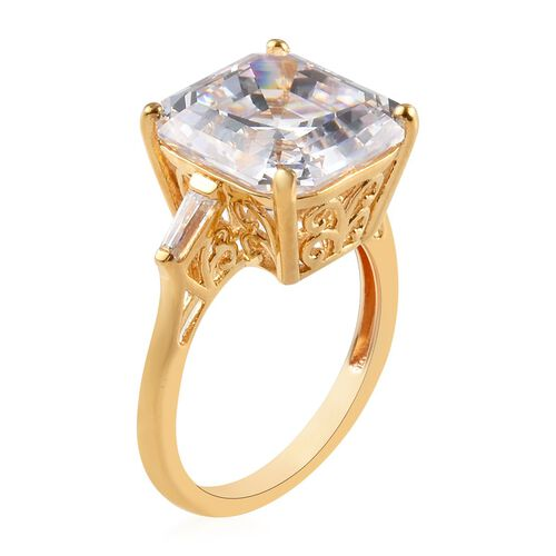 J Francis - Yellow Gold Vermeil Sterling Silver (Asscher Cut) Ring Made with SWAROVSKI ZIRCONIA