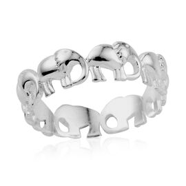 Hand Texture Elephants Band Ring in Sterling Silver 3.47 Grams