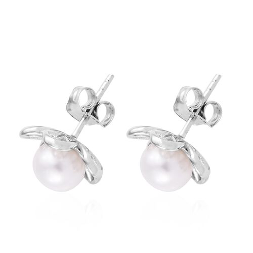 Fresh Water Pearl (5.00 Ct) Platinum Overlay Sterling Silver Earring  5.000  Ct.