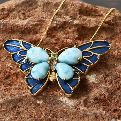 Larimar (Pear), Tsavorite Garnet and Natural Cambodian Zircon Enameled Butterfly Pendant with Chain in 14K Gold Overlay Sterling Silver 11.000 Ct. Silver wt 10.79 Gms.