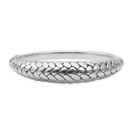 Designer Inspired-Rhodium Overlay Sterling Silver Snake Skin Texture Bangle (Size 6.5 to 7), Silver