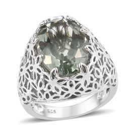 5.25 Ct Prasiolite Floral Solitaire Ring in Platinum Plated Sterling Silver 6.40 Grams