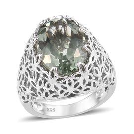 Prasiolite (Ovl 14x10 mm) Ring in Platinum Overlay Sterling Silver 5.250 Ct, Silver wt 6.20 Gms