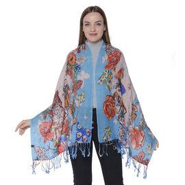 100% Merino Wool Artistic Flower Print Scarf (170x85cm) - Blue