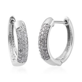 Sundays Child- 9K White Gold SGL Certified Diamond (I3/G-H) Huggie Hoop Earrings (with Clasp) 0.50 C