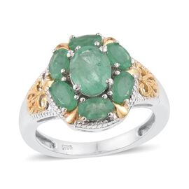 2.25 Ct Kagem Zambian Emerald Halo Ring in Platinum and Gold Plated Silver
