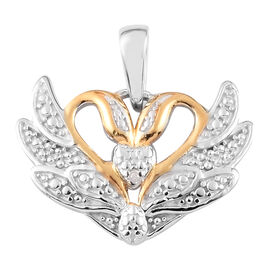 Diamond Swan Couple Pendant in Yellow Gold and Platinum Overlay Sterling Silver