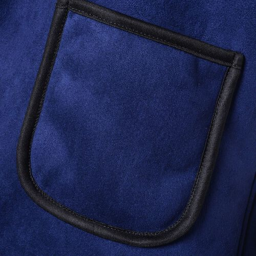 New Season - Navy and White Colour Drape Collar Sherpa Gilet (Size 80X50 Cm - Free Size) with Pockets (Size 14X12 Cm)