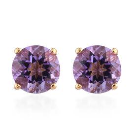 Rose De France Amethyst (Rnd) Stud Earrings (with Push Back) in 14K Gold Overlay Sterling Silver 2.2