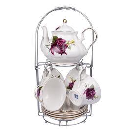 Set of 14 - Rose Pattern Tea Set with Storage Rack - White & Purple