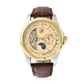 GENOA Automatic Mechanical Movement Skeleton Golden Dial Water Resistant Watch with Brown Strap