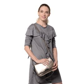 HONG KONG CLOSE OUT DEAL- 100% Genuine Leather Antique Silver Colour Crossbody Bag with Removable Sh
