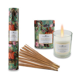 Home Decor - Set of 2 - Scented Glass Candles and Incense Stick Box with 30 Sticks (Holi Festival- S