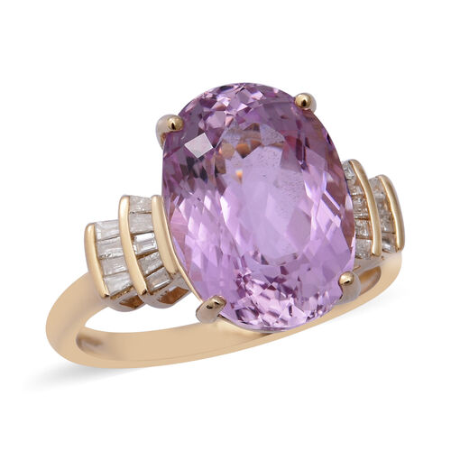 7.60 Ct AAA Martha Rocha Kunzite and Diamond Solitaire Ring in 9K Gold