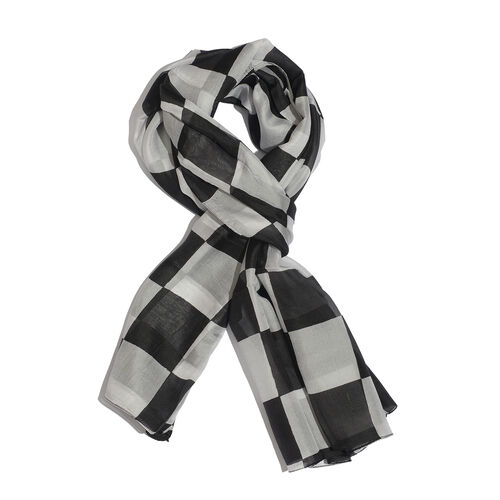 100% Mulberry Silk Black and White Colour Handscreen Geometric Printed White Colour Scarf (Size 180x