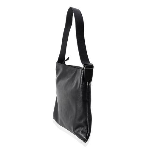 Premium Collection Super Soft 100% Genuine Leather Black Colour Tote Bag with Adjustable Shoulder Strap (Size 39x36x33 Cm)