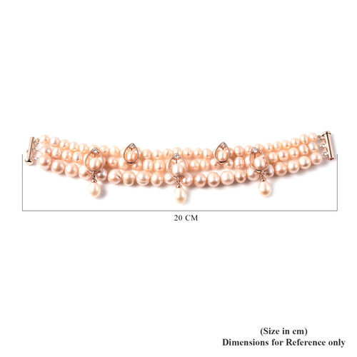 LucyQ Pink Freshwater Pearl, Natural Cambodian Zircon Three Layer Bracelet (Size 7.5) in Rose Gold Overlay Sterling Silver